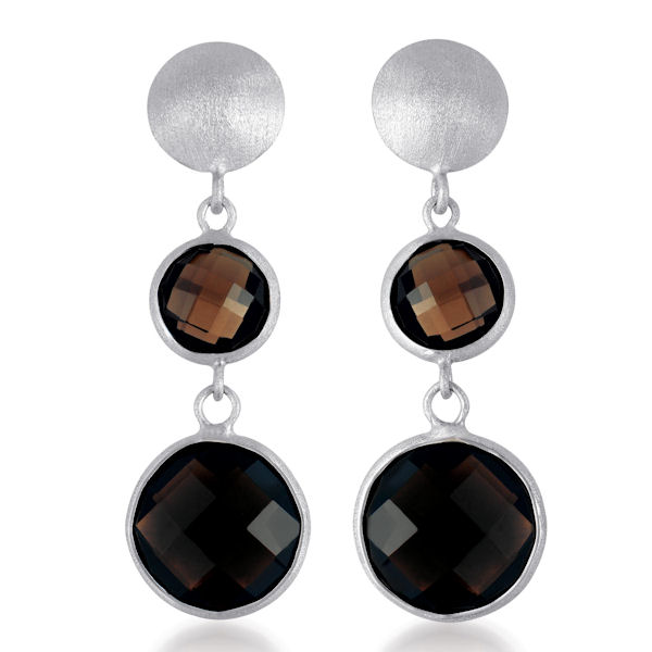 Dark Smokey Genuine Quartz Earrings